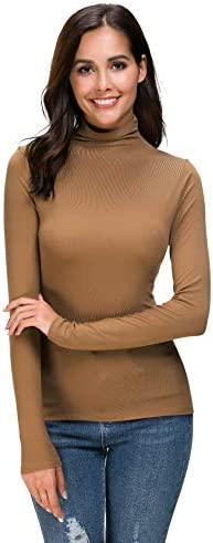 Womens Long Sleeve Mock Turtleneck Stretch Fitted Underscrubs Layer Tee Tops product image