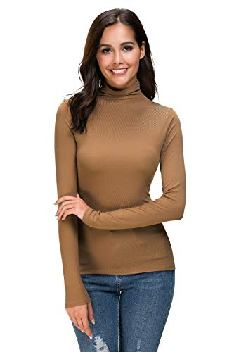 Womens Long Sleeve Mock Turtleneck Stretch Fitted Underscrubs Layer Tee Tops