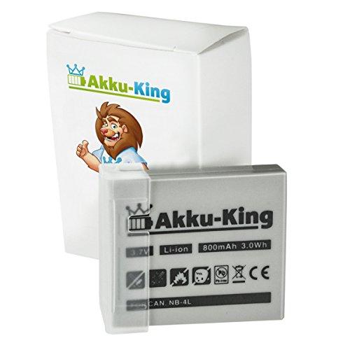 Akku-King Akku kompatibel mit Canon NB-4L - Li-Ion 800mAh - für Digital IXUS 70, 75, 100 is, 110 is, 120 is, 220 HS, SD1000