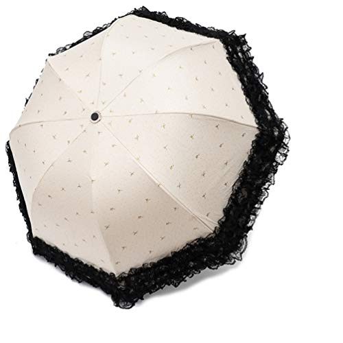 Honeystore Princess Lace Parasol Folding Sunny and Rainy Decoration Umbrella N001-Ivory