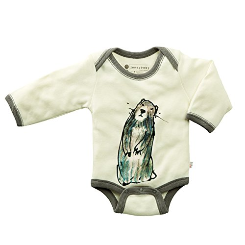 Babysoy Newborn Organic Long Sleeve Animal Print Bodysuit Romper Marmot 12-18...
