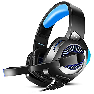 Wired Stereo Gaming Headset for Xbox One, PS4, PC, Laptop, Nintendo Switch Games, Over Ear PC Gaming Headphones with Mic, Surround Sound, Noise Isolation, Led Light, Gift for Men