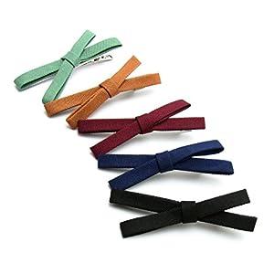 [necker] ヘアクリップ リボン くちばし ダッカール 髪留め ミニ ヘアアクセサリー 5個セット (A)