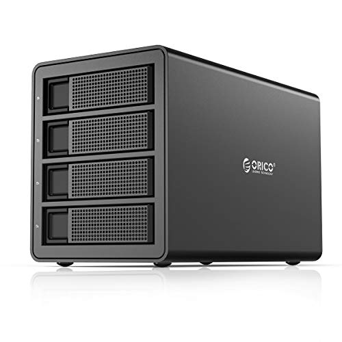 ORICO 4 Bay USB 3.0 to SATA External Hard Drive RAID Enclosure Support 64TB, 2.5/3.5 inch HDD SSD Enclosure Built-in 150W Power/Dual Chip for Enterprise Data Storage Backup (Support RAID)