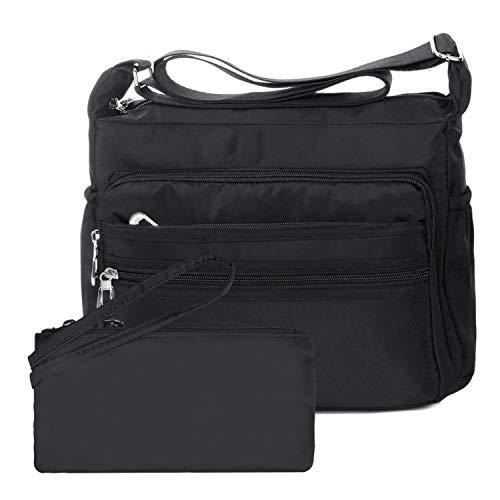 NOTAG Bolsos de Mujer, Impermeable Nylon Bolso de Hombro Multi Bolsillo Bolso Cruzado Messenger Bag con Billetera RFID (L, Negro)