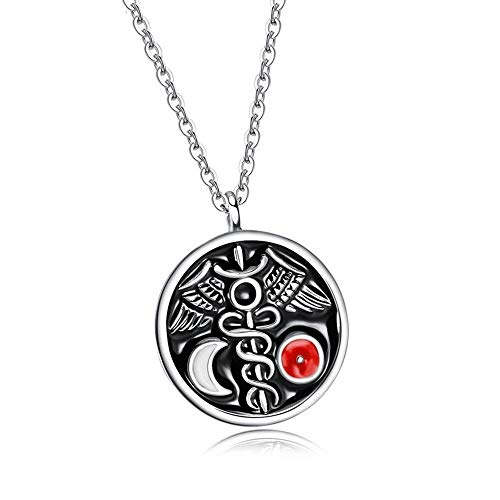 SUIWO Amuleto Colgante de Collar Colgante de Collar de Hombres Pareja de la Cadena del Cuello del Collar de la joyería Collar de Cadena Hombres Titanium de los Hombres de Acero Redondo