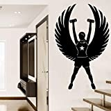 fancjj Etiqueta de la Pared de Fitness Decoración de La Pared para La Habitación Chica Deporte Etiqueta de La Pared de Vinilo Arte Removible Adolescentes Mural Poster 35X57 cm