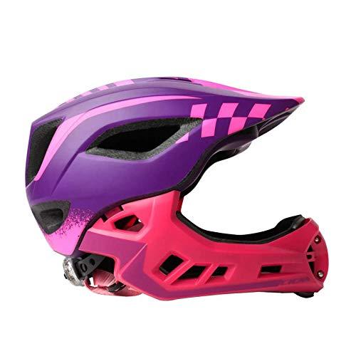 Kinder Fahrradhelm Balance/Hand Push Fahrradhelm Radfahren Skaten Integralhelm LED Rücklichter Ultraleicht Sporthelm-Lila pink_S (47-50cm)