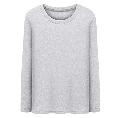 Camisetas de manga larga para hombre de algodón, de verano, básicas, de cuello redondo, delgadas, sólidas gris XXXXXL