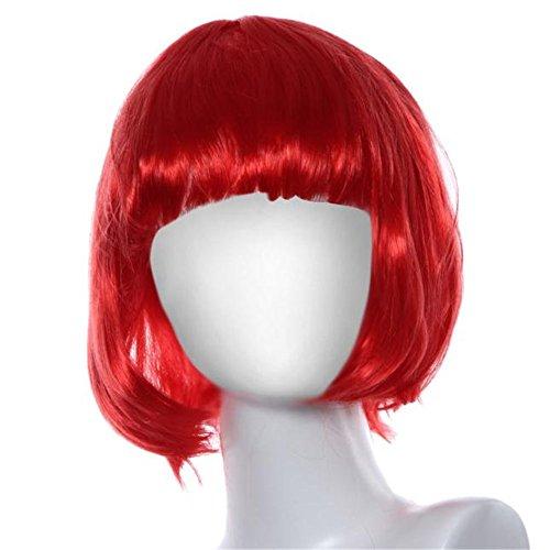 Wig Vovotrade® Mascarade petit rouleau Bang courte perruque de cheveux raides (red)