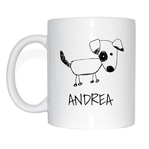 JOllipets ANDREA Namen Geschenk Kaffeetasse Tasse Becher Mug PM5128 - Farbe: weiss - Design: Hund