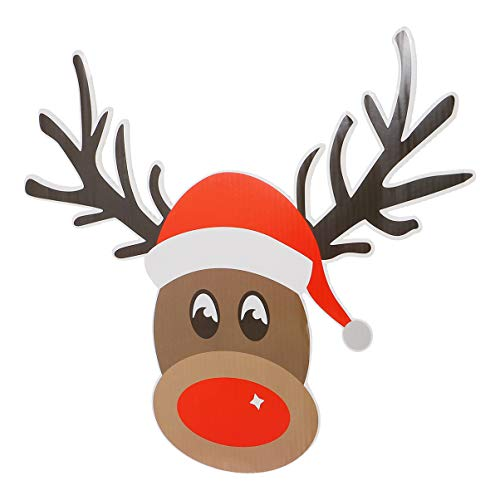 Amosfun Christmas Yard Signs with Stakes Reindeer Outdoor Lawn Decorations Xmas Yard Stakes for Holiday Lawn Yard Outdoor Decorations