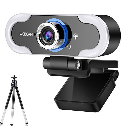 2021 Webcam 1080 HD Live Streaming Webcam with Light Stereo Microphone & Tripod Stand, Video Web Camera for Online Class/Zoom Meeting/Skype Calls/Facetime, PC/Mac/Laptop/Desktop