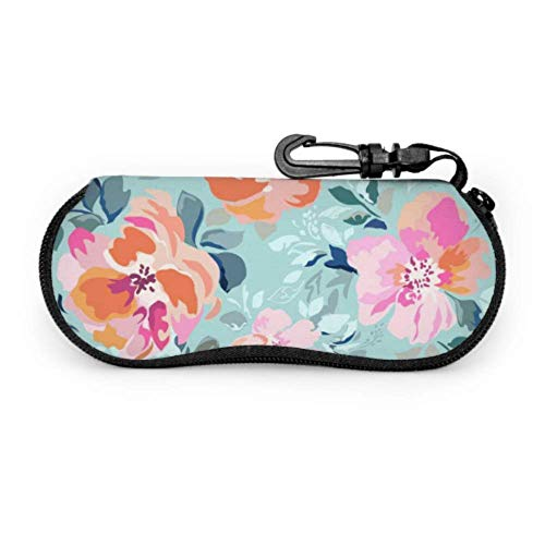 Estuche para gafas Carcasas de gafas de dibujos animados floral hermosa rosa para dama caso gafas hombres mejor caso suave con cremallera neopreno gafas gafas de sol bolsa protectora bolsa