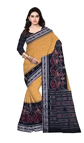 DK FASHION Women's Sambalpuri Handloom Cotton Saree Odisha Art with Un-stiched blouse_SNR- YELLOW,BLACK