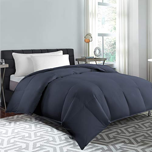 Cannon Home 100% Cotton White Goose Duck Down and Feather Filling Comforter 240 Thread Count Hypoallergenic Lightweight All Season Duvet Insert, KING, Navy