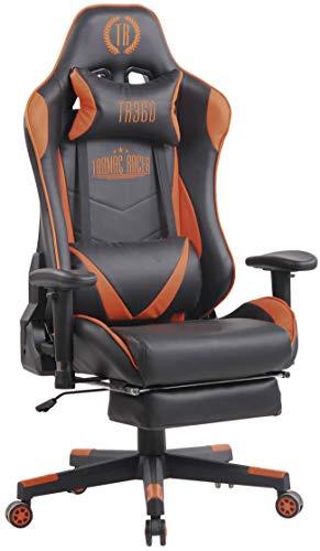CLP Poltrona Racing Massaggiante Lux XFM in Similpelle I Sedia Gamer Relax con Poggiapiedi E Schienale Reclinabile, Colore:Nero/Arancione