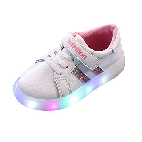 1-6 Años,SO-buts Bebés Niñas Niños Luces Led Brillantes Zapatillas Deportivas Luminosas Zapatos para Correr Zapatos Casuales (Rosado,28)