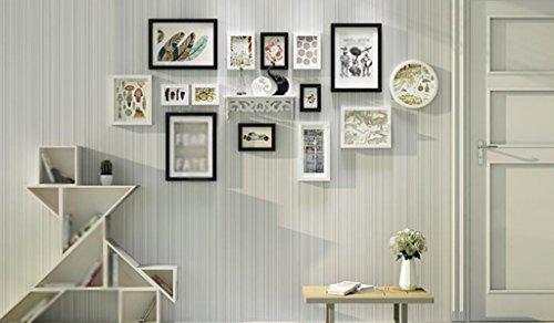 Noir et Blanc Bois massif Photo Mur Cadre Mur Simple Moderne Suspension Creative Living Combinaison murale Envoyer des étagères (Couleur : A)
