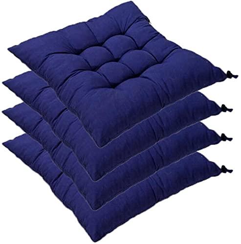 RR&LL Cojines gruesos para sillas de comedor, sólidos, cuadrados, antideslizantes, para cocina, suaves, cojines para sillas de comedor para interiores y exteriores (juego de 4)