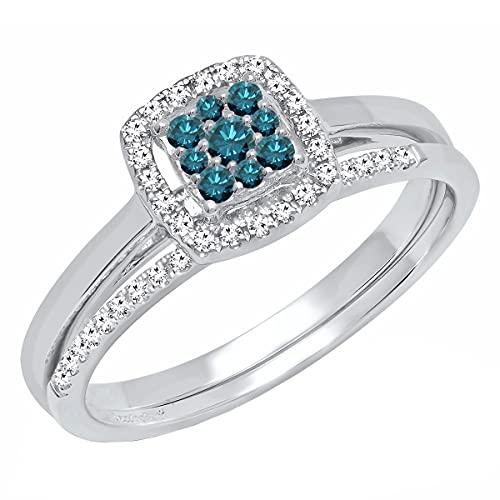 Dazzlingrock Collection Juego de anillos de compromiso de 0,30 quilates de diamante azul redondo para mujer, estilo racimo cuadrado, para mujer, 1/3 quilates, oro blanco de 14 quilates, talla 7