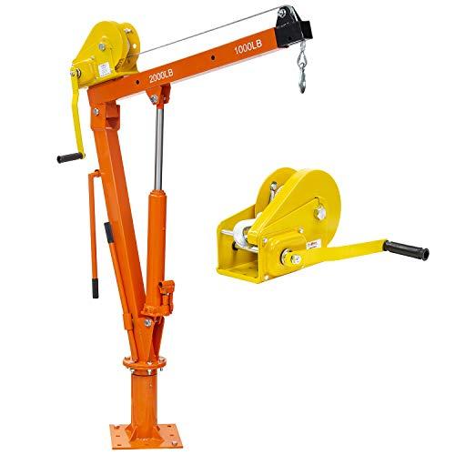 Prowinch Hydraulic and Winch Davit Crane 2000 lbs. 360 Degrees Swivel Automatic Brake Winch