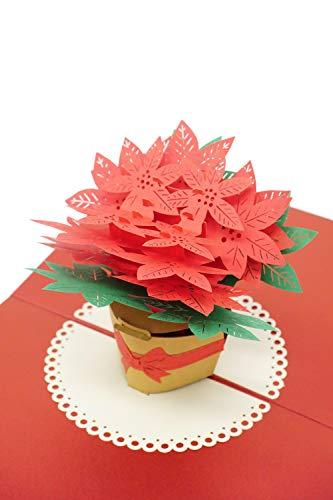 3D Pop-Up-Karte, Weihnachtsstern, hochwertiges Metallic-Papier, Laserschnitt, einzigartiger Stil, handgefertigt, mit Umschlag und 2-lagiger Nachrichtenseite