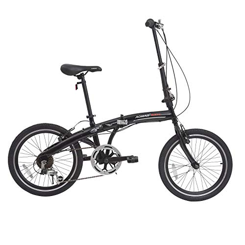 Murtisol Folding Bike 20'' Hybrid Bicycle Reinforced Frame Commuter Bike with 6 Speeds Derailleur, Durable Frame, Adjustable Seat,Black