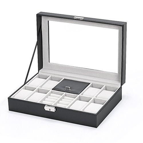 Organizador de relojes de piel, elegante caja para hombres y mujeres para joyas, pulseras, collares