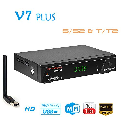 GTMEDIA V7PLUS HD Free to air Satellite Receiver FTA DVB-S2/T2 Built-in Galaxy 19 Digital TV Sat Decoder with Antenna WiFi USB Full HD 1080P H.265 HEVC Support YouTube PVR CCcam