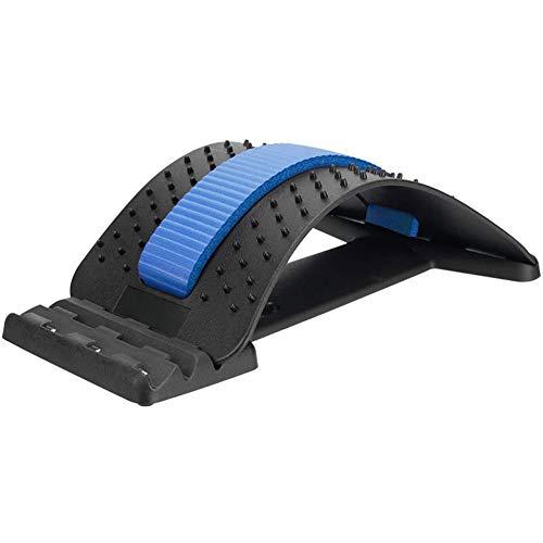 Dispositivo de Estiramiento de La Espalda, lumbar Dispositivo de Estiramiento para Alivia el Dolor de Espalda Dolor Muscular - Negro + Azul
