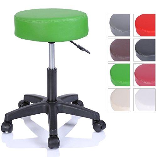 Rollhocker Arbeitshocker Hocker Drehhocker Kosmetikhocker Praxishocker höhenverstellbar mit Rollen, 360° drehbar, 10 cm Polsterfläche und 8 Farbvarianten (Grün)