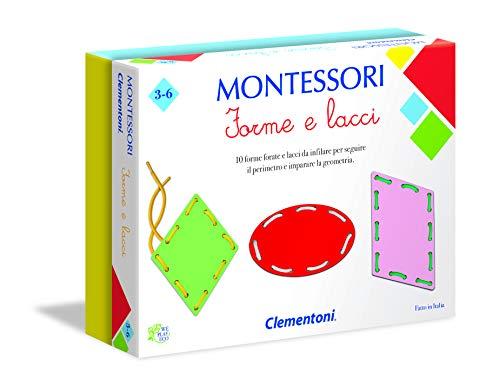 Clementoni - 16102 - Montessori - Forme e Lacci - Made in Italy - gioco Montessori 3 anni, gioco educativo metodo montessoriano (Versione in Italiano)