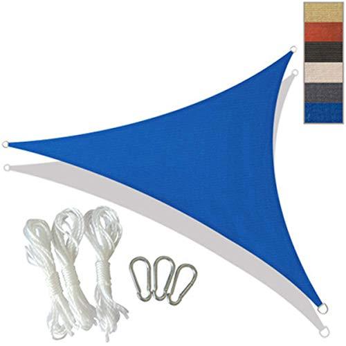 DLHXD Triangle Sun Shade Sail, Gartenpatio im Freien, wasserdichtes 98% Anti-UV-Sonnenschutz-Markisendach, Verschiedene Größen, leicht zu reinigen, Outdoor-Sonnensegel(blue5*5 * 5(m))