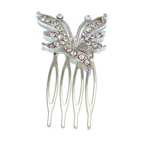 Peigne en forme de papillon argent avec strass incrustées