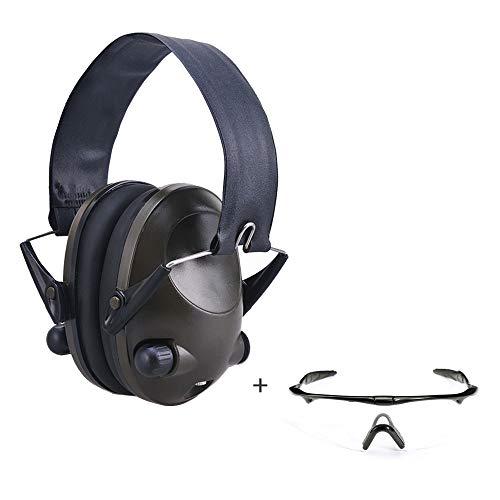 Affordable Green Ear Muffs & Clear/Tinted Gun Safety Glasses, Anti Fog & Anti Scratch, Sound Amplifi...