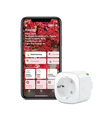 Eve Energy - Smarte Steckdose (deutsche Markenqualität), TÜV-zertifiziert, Verbrauchsmessung, Zeitpläne, schaltet Geräte ein & aus, keine Bridge nötig, Smart Plug, Apple Homekit, Bluetooth, Thread
