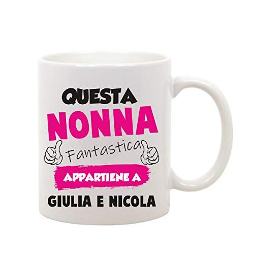 Incidiamo Tazza Mug in Ceramica Nonna Divertente Gadget Festa dei Nonni Personalizzabile Questo Nonna...