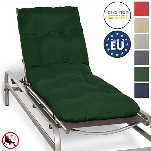 Beautissu Cuscino per lettini Prendisole e sedie a Sdraio Flair RL - 190x60x8cm - Ideale in Spiaggia, Giardino, Balcone - Verde Scuro
