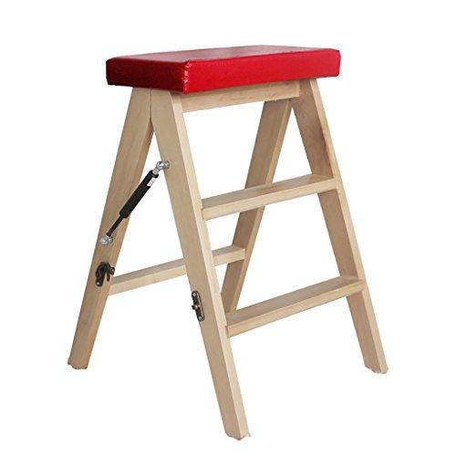 GBY Tritt Klappbarer 2-Stufen-Treppenstuhl Tragbare leichte Holzbalken-Trittleiter Gartenwerkzeug Hocker