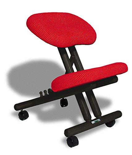 cinius Ergonomischer Stuhl Orthopädischer Kniestuhl Computerstuhl Kniehocker Stoff Schwarz/Rot Farbe