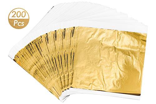 HENTEK 200 Goldblatt Blattgold Goldfolie Schlagmetall Gold Nachahmung Blatt 14 x 14 cm für Kunstprojekt Vergoldung Handwerk Basteln Dekoration