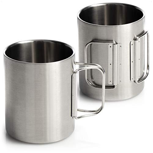 com-four® 2X Edelstahl-Kaffeebecher - 350 ml je Kaffeetasse - Thermo-Trinkbecher aus hochwertigem Edelstahl mit Klapphenkel - doppelwandige Isolierbecher - BPA-frei (2 Stück)