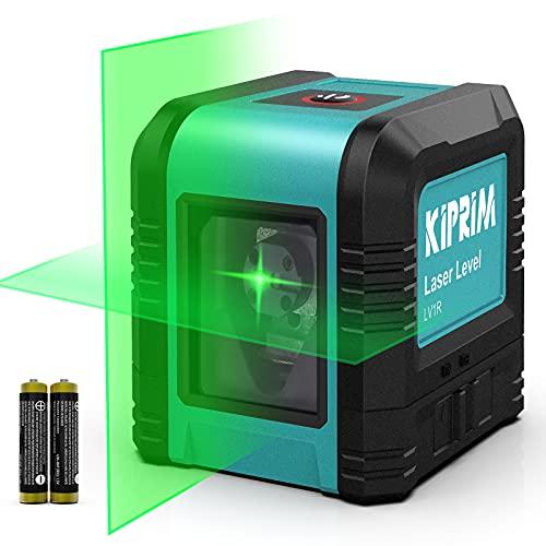 Nivel Láser de 5 m, Nivel Láser Cruzado Kiprim LV1D Láser Vertical / Horizontal de Doble Línea, IP54 a prueba de polvo, impermeable, antigoteo de 1 m, nivelación automática de ± 4 °