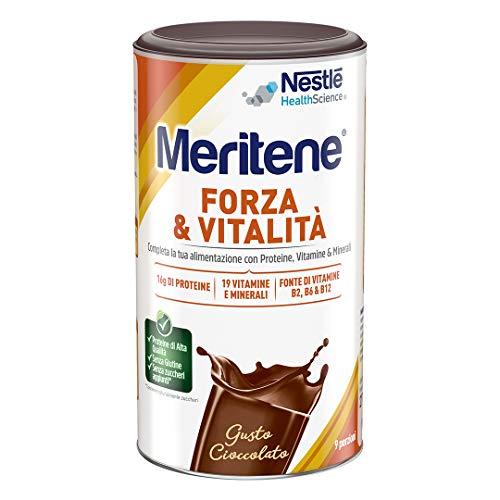 Meritene FORZA E VITALITÀ in polvere gusto cioccolato - Integratore di Proteine, Vitamine e Minerali - Barattolo da 270g
