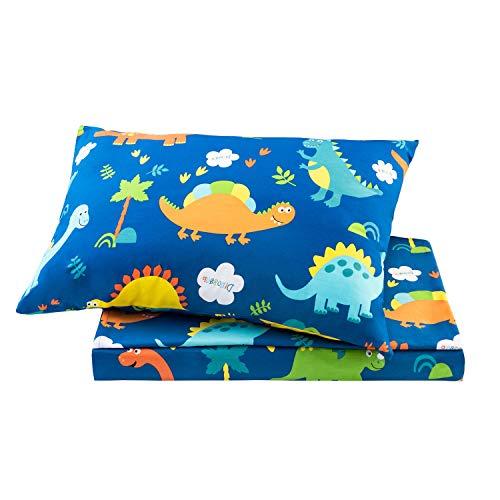 Sivio - Juego de sábanas para cama individual, diseño de dinosaurios azules, 3 piezas, unisex, algodón muy suave, acogedor, duradero, absorbe la humedad, 1 sábana bajera y 1 funda de almohada, 35,5 cm de profundidad