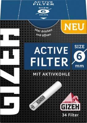 Gizeh 136 x Active Tips Slim Aktivkohlefilter 6mm 4x34er Filtertips