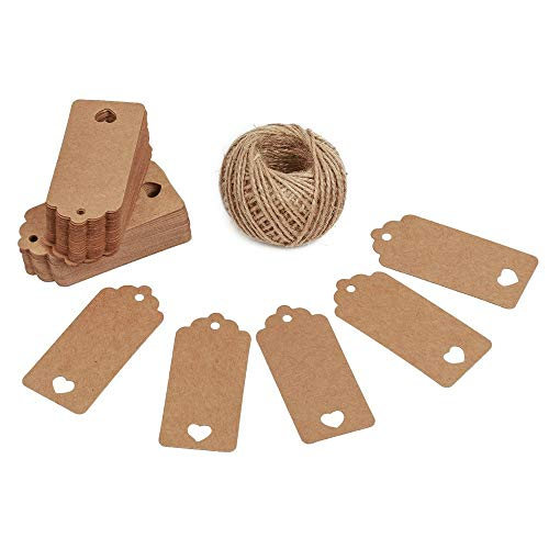 Valentines Day Gift Kraft Paper Tags 100 Pcs Luggage Tags Labels Labels with 30 Meters Jute Twine Markers Stamps or Ink