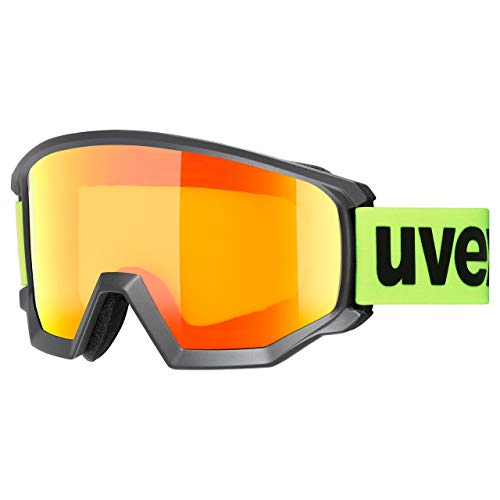 uvex Athletic CV, Maschera da Sci Unisex Adulto, Black Mat/Orange-Yellow, one size