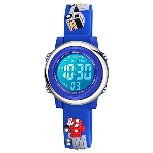 Venhoo Kids Watches for Boys 3D Cartoon Waterproof Silicone 7 Color Flashing Lights Children Toddler Wrist Watch for Boy Little Child-Blue Track